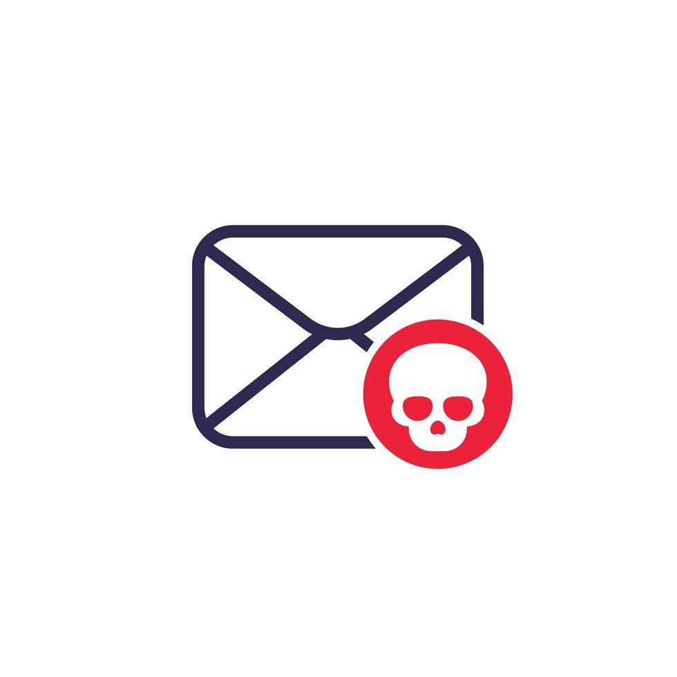 e-mail met een virus-, malware- of phishing-pictogram vector