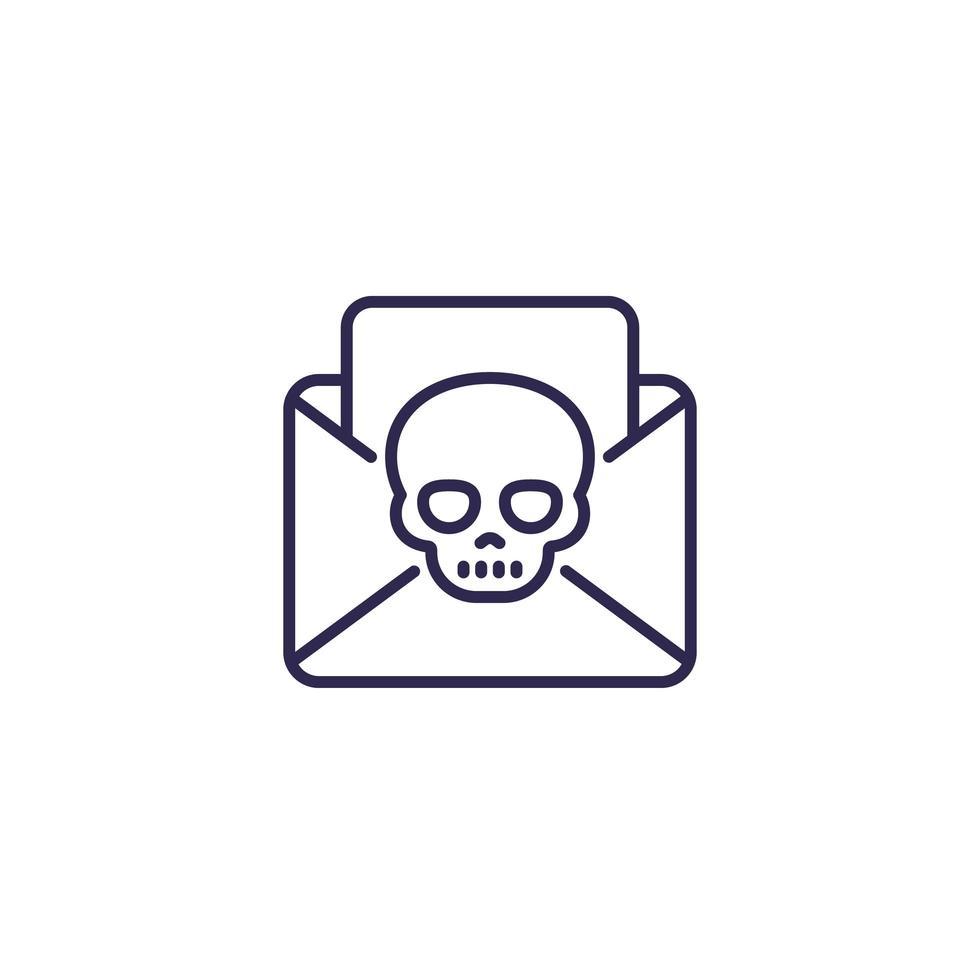 e-mail met virus-, malware- of phishinglijnpictogram vector