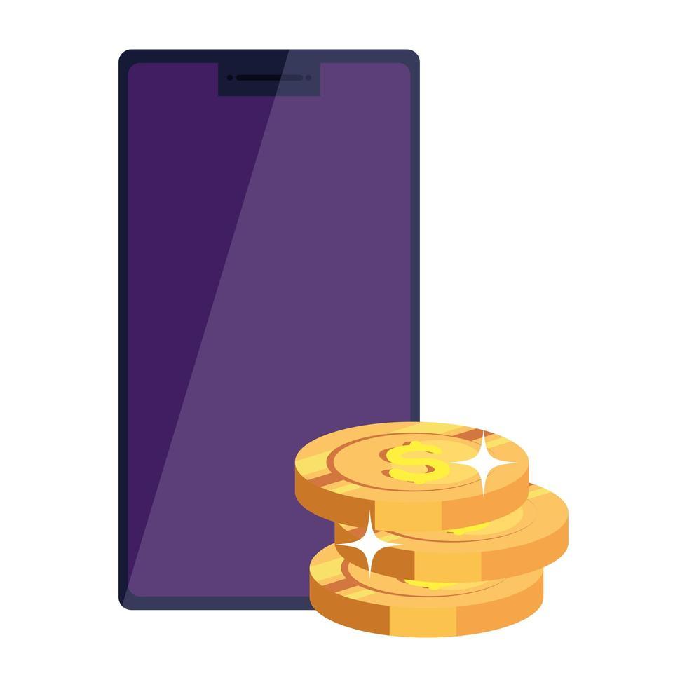 smartphoneapparaat met stapel munten geïsoleerd pictogram vector
