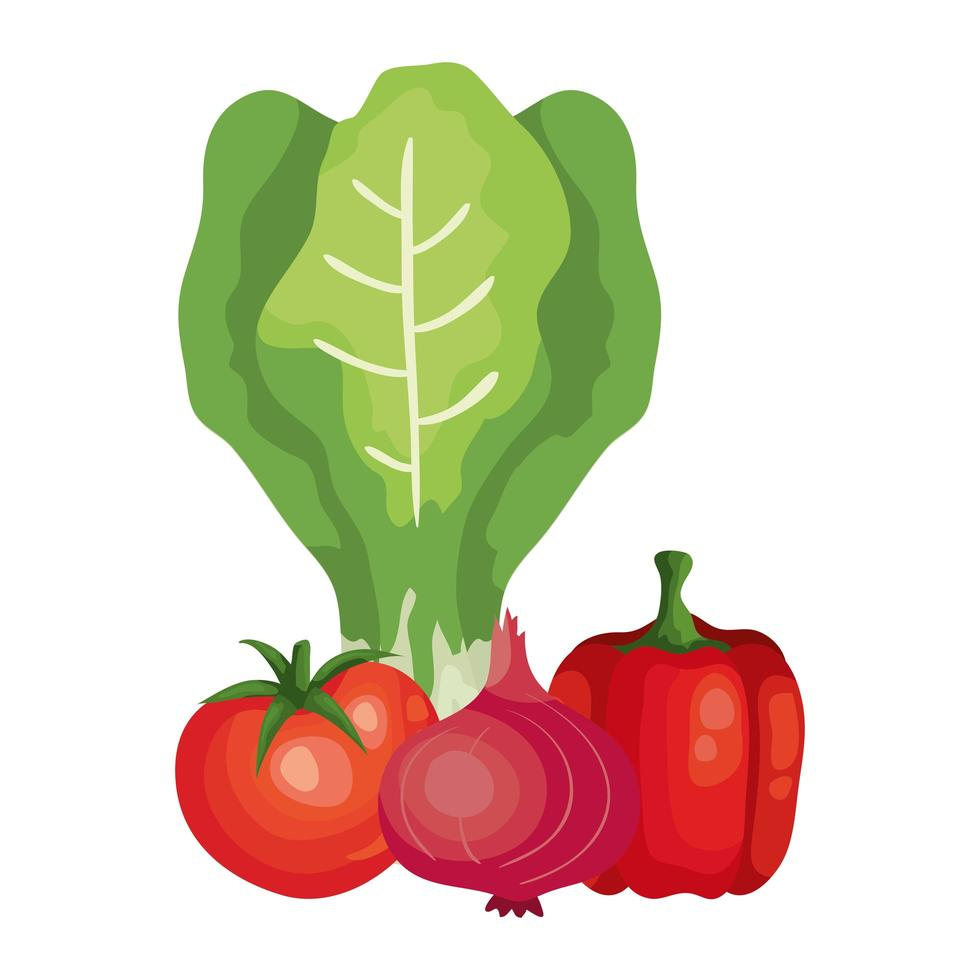 verse tomaat met groenten geïsoleerde pictogrammen vector