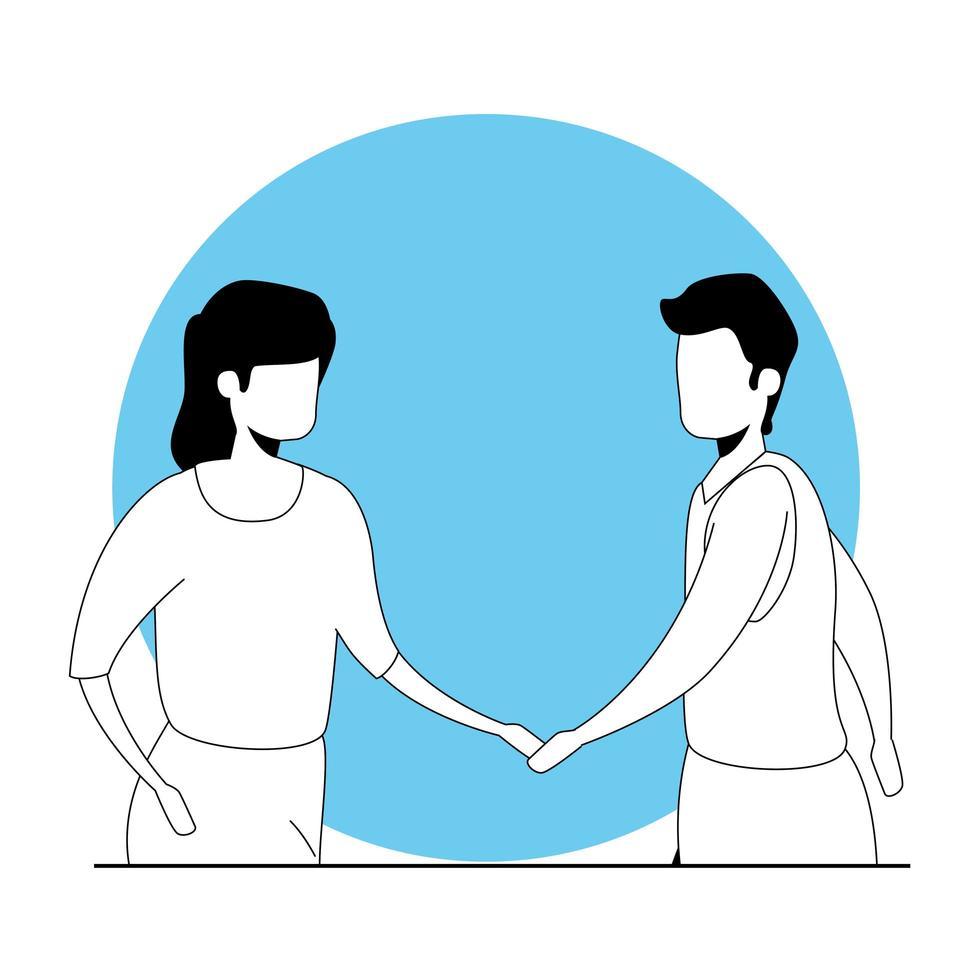 jong koppel avatar karakter pictogram vector