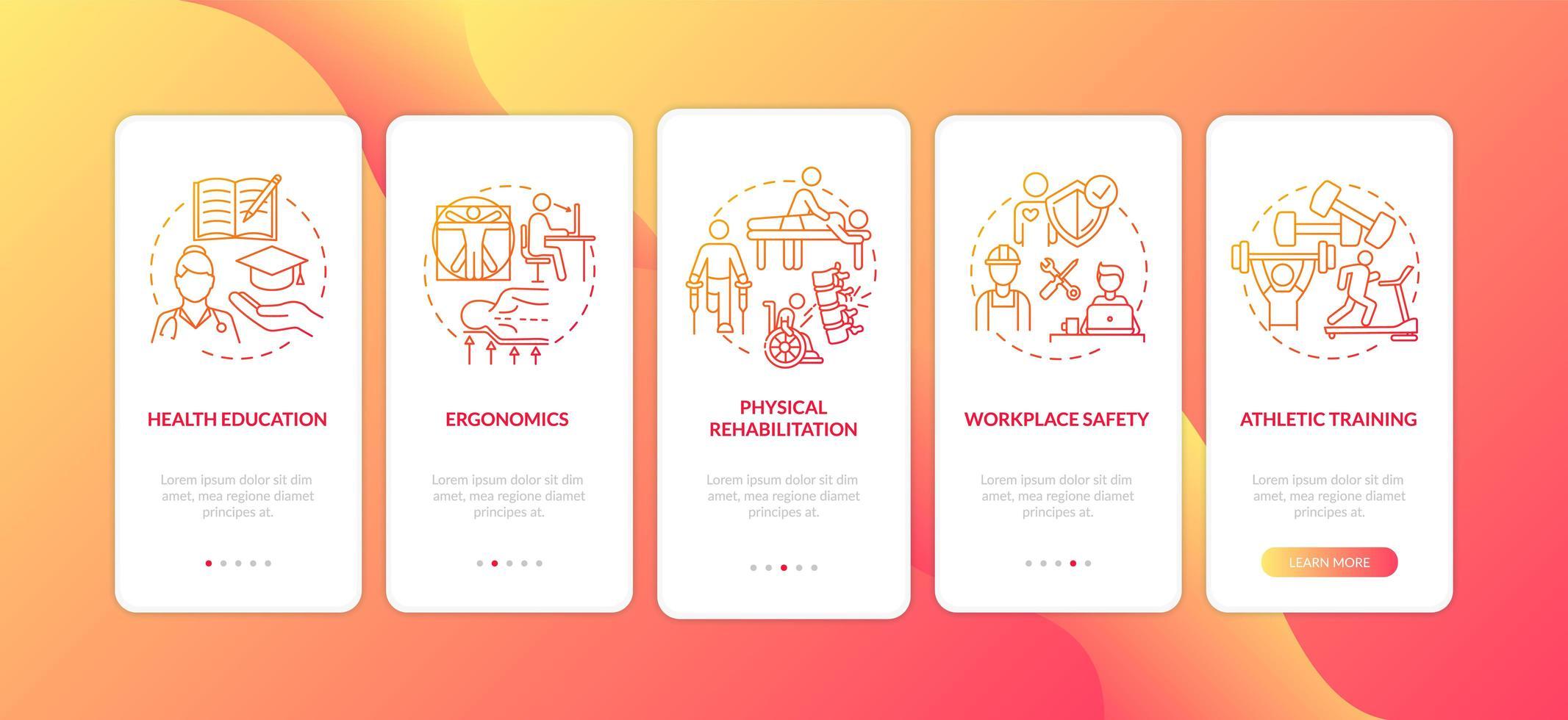 gezondheidseducatie rood onboarding mobiele app-paginascherm met concepten vector