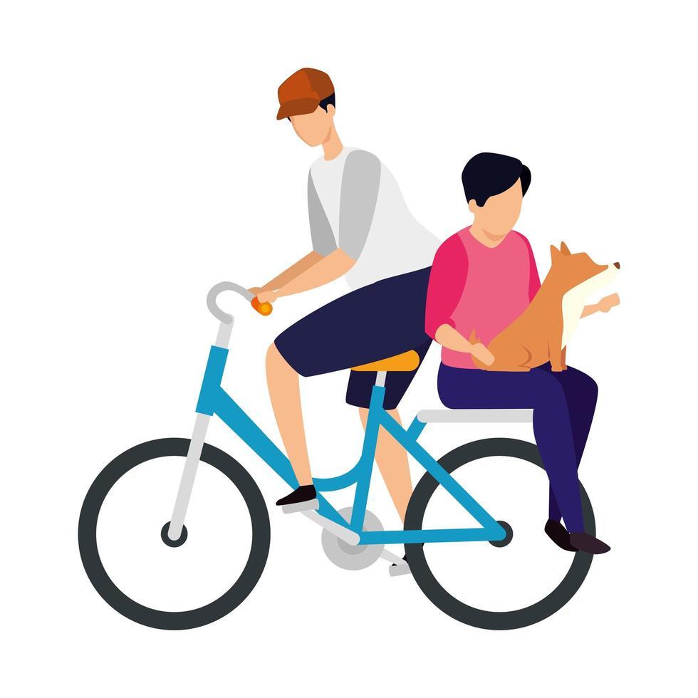 mannen in fiets met avatar karakter van de hond vector