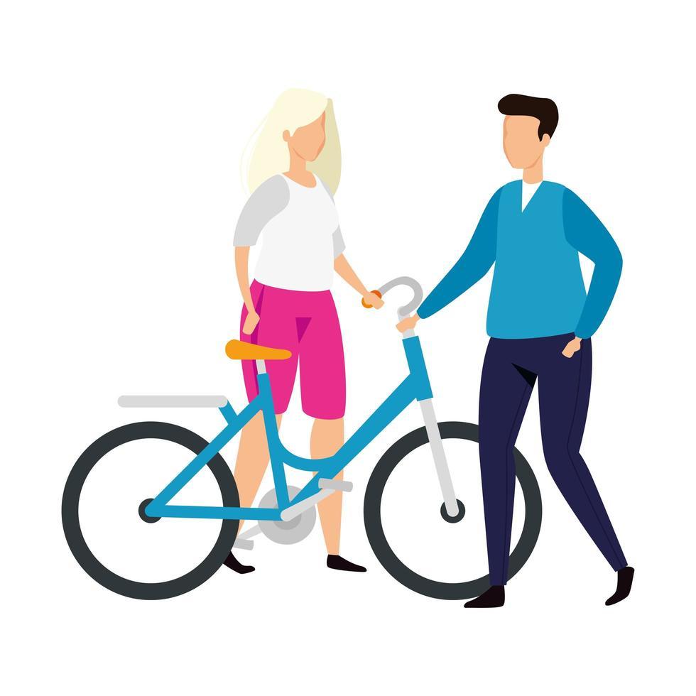 koppel met fiets avatar karakter pictogram vector