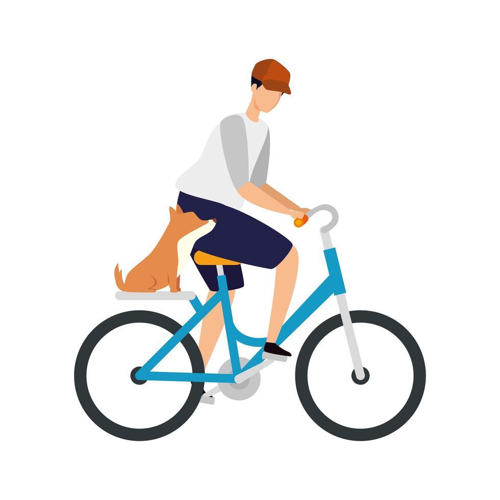 jonge man met hond in fiets avatar karakter vector
