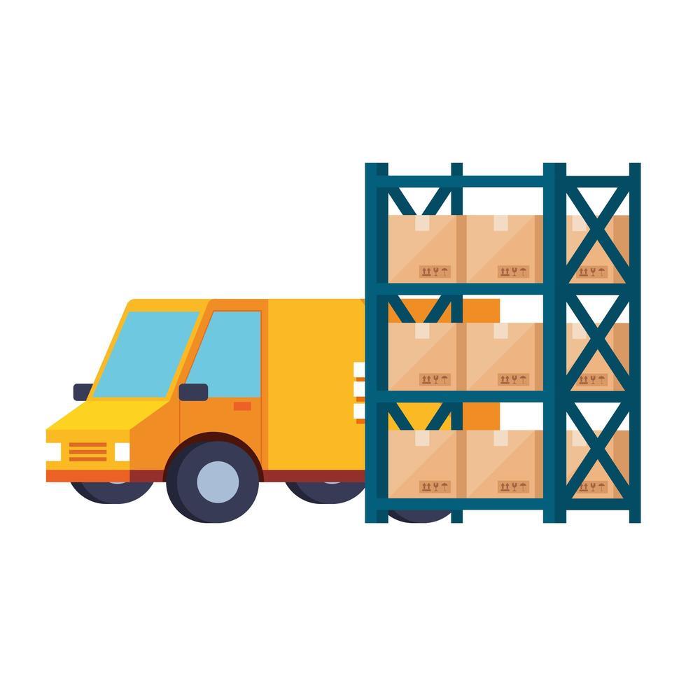 bezorgdienst busje en magazijn metalen rekken met dozen vector