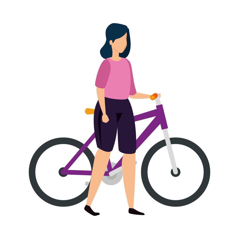 mooie vrouw met fietsavatar karakter vector