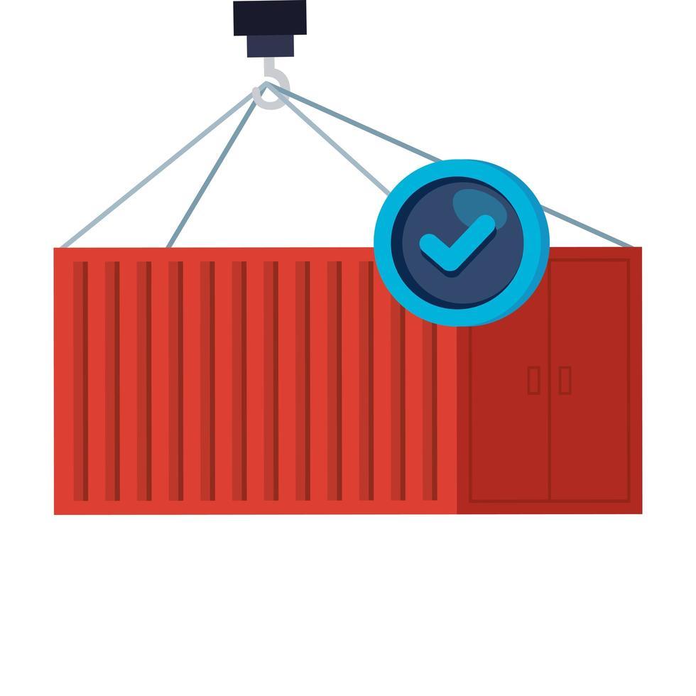 metalen container met vinkje vector