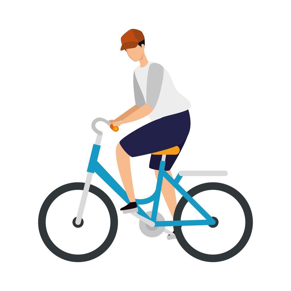 jonge man in fiets avatar karakter pictogram vector