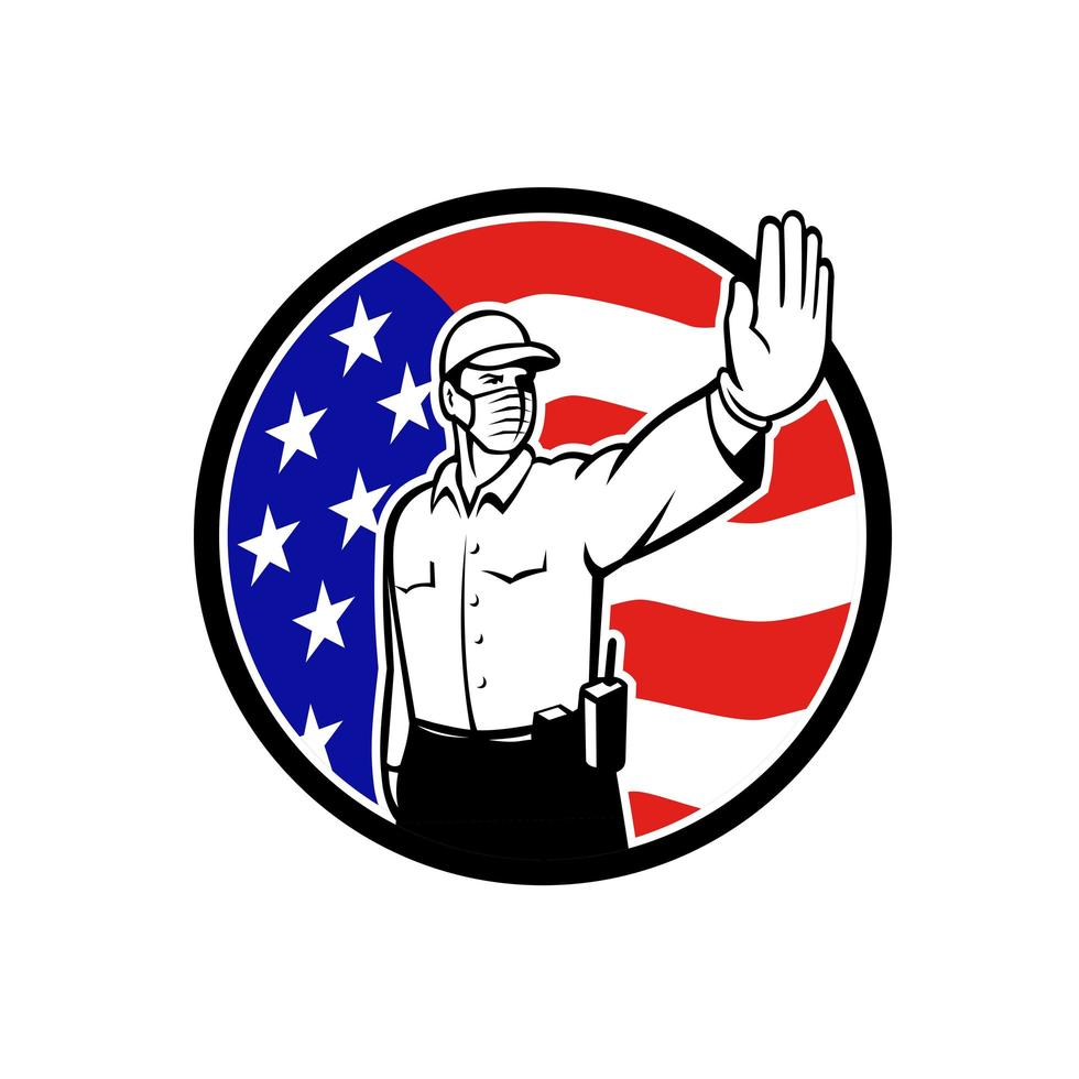 Amerikaanse grenspatrouille-officier met gezichtsmasker stoppictogram vector