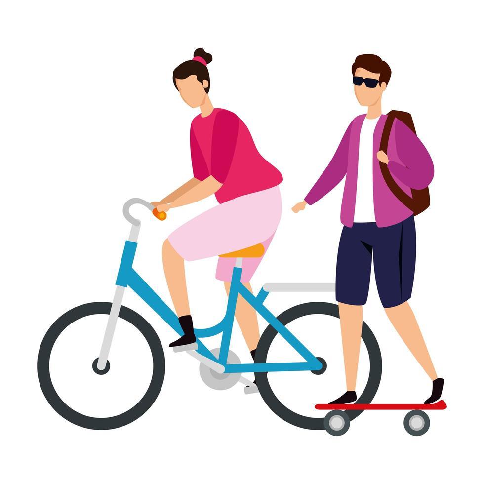 koppel met fiets en skateboard vector