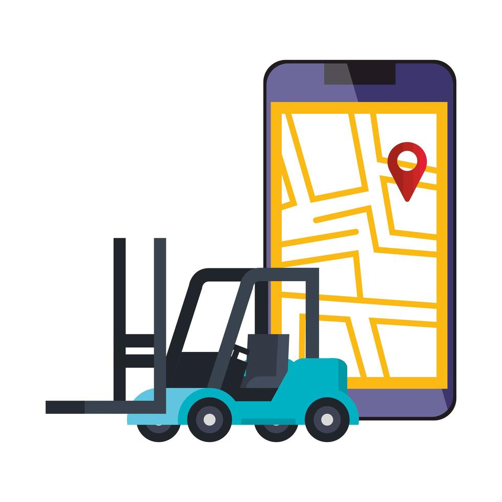 smartphone met kaartlocatie-app en vorkheftruck vector