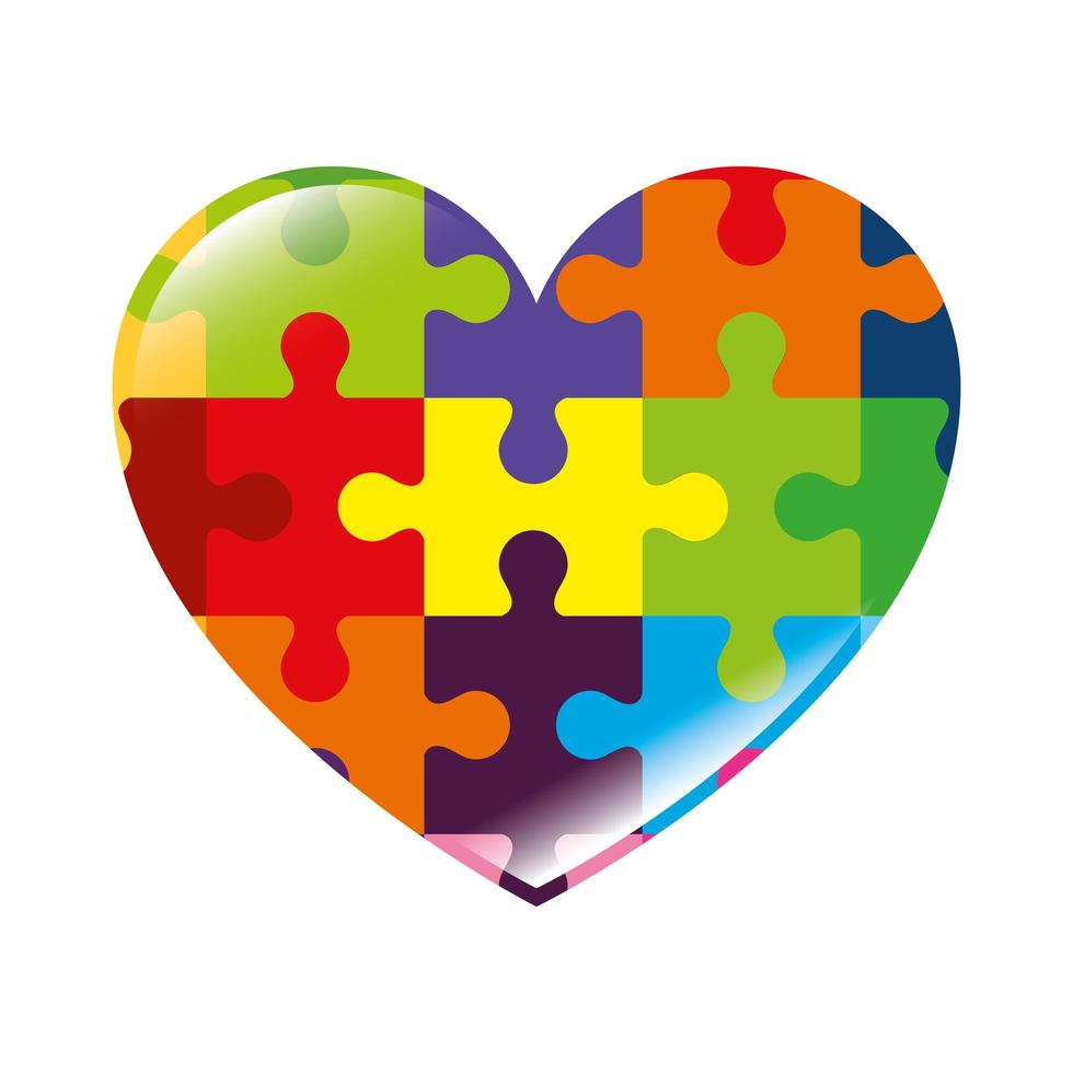 hart van puzzelstukjes pictogram vector
