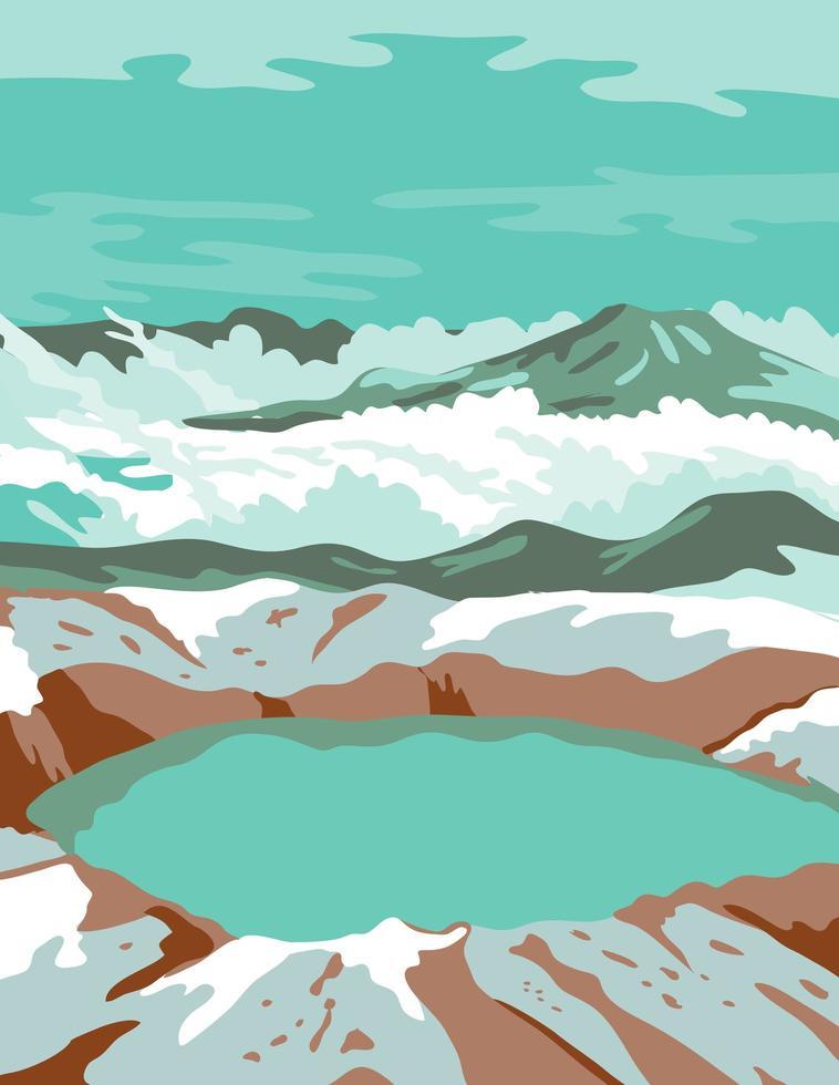katmai nationaal park en behouden bij de krater van de top vector