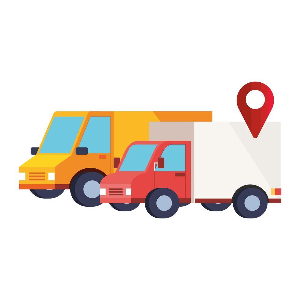 Bezorgservice voertuigen transport geïsoleerde pictogram vector