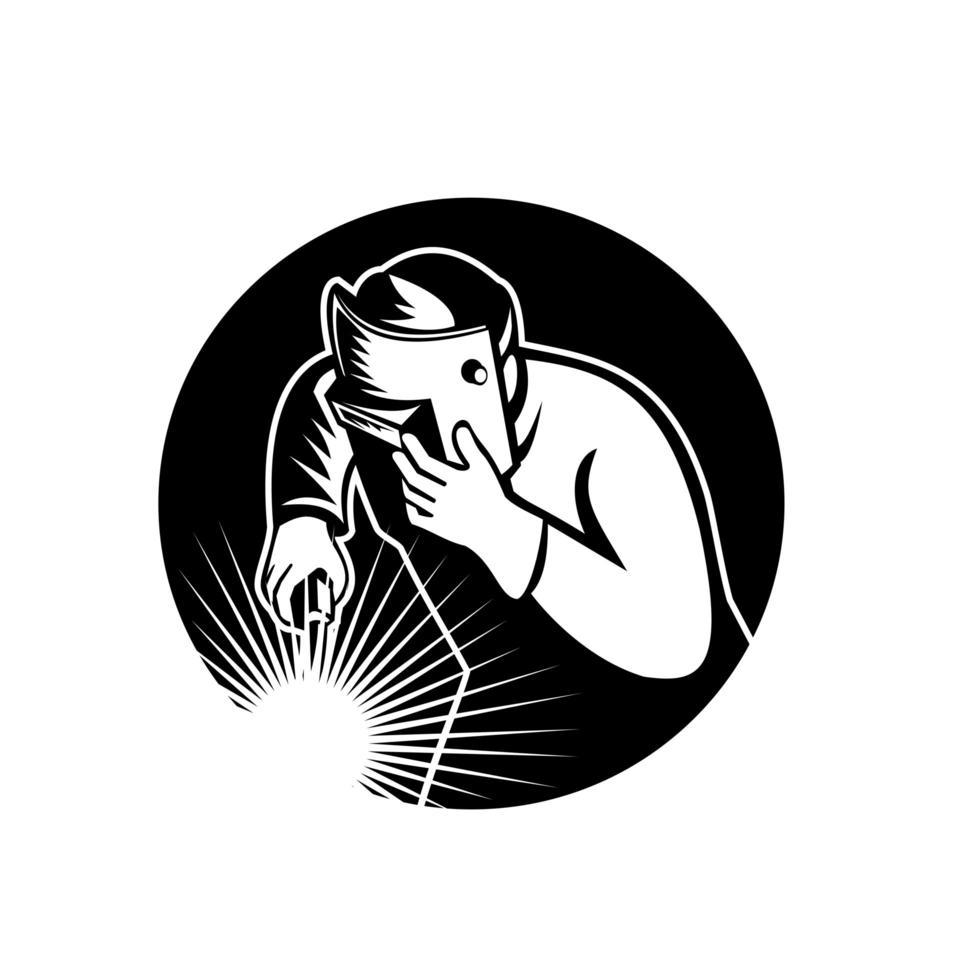 booglasser lastoorts cirkel retro zwart en wit vector