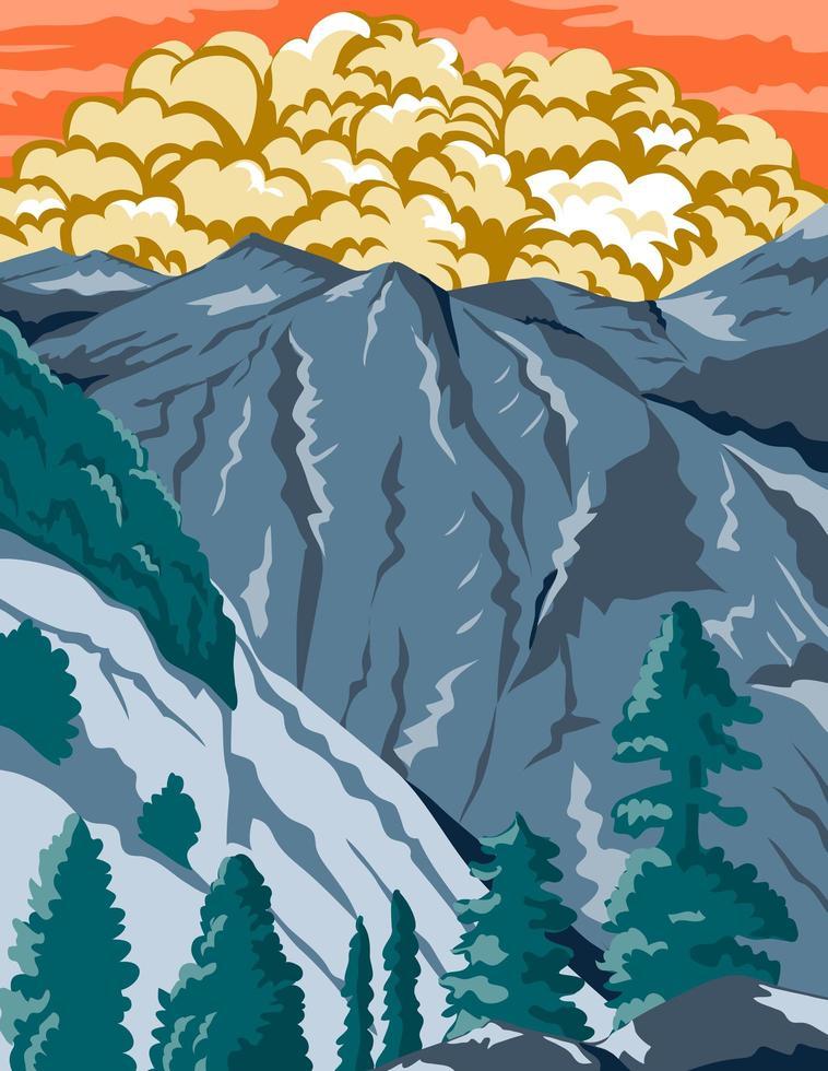 kings canyon nationaal park in sierra nevada fresno vector