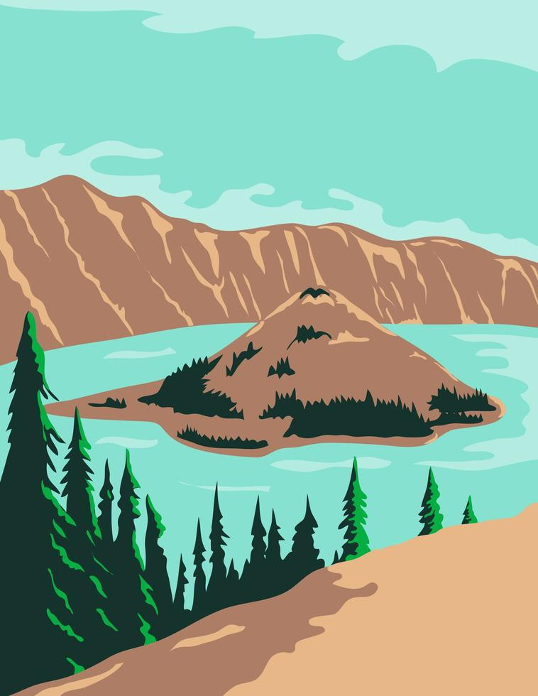 Crater Lake National Park in Klamath County, Oregon vector