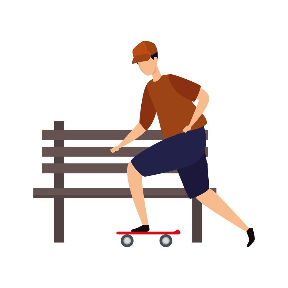 jonge man in skateboard en houten stoel van park vector