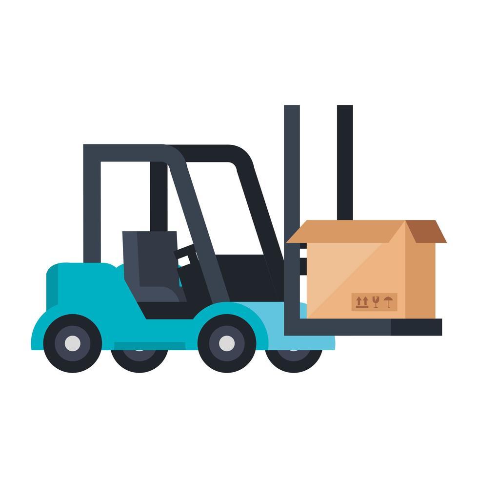 Box pakket lading in vorkheftruck geïsoleerd pictogram vector