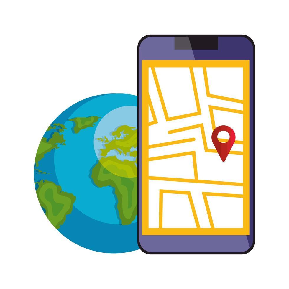 smartphone met kaartlocatie-app en wereldplaneet vector