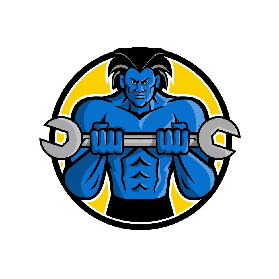 blauwe gespierde monster moersleutel mascotte vector