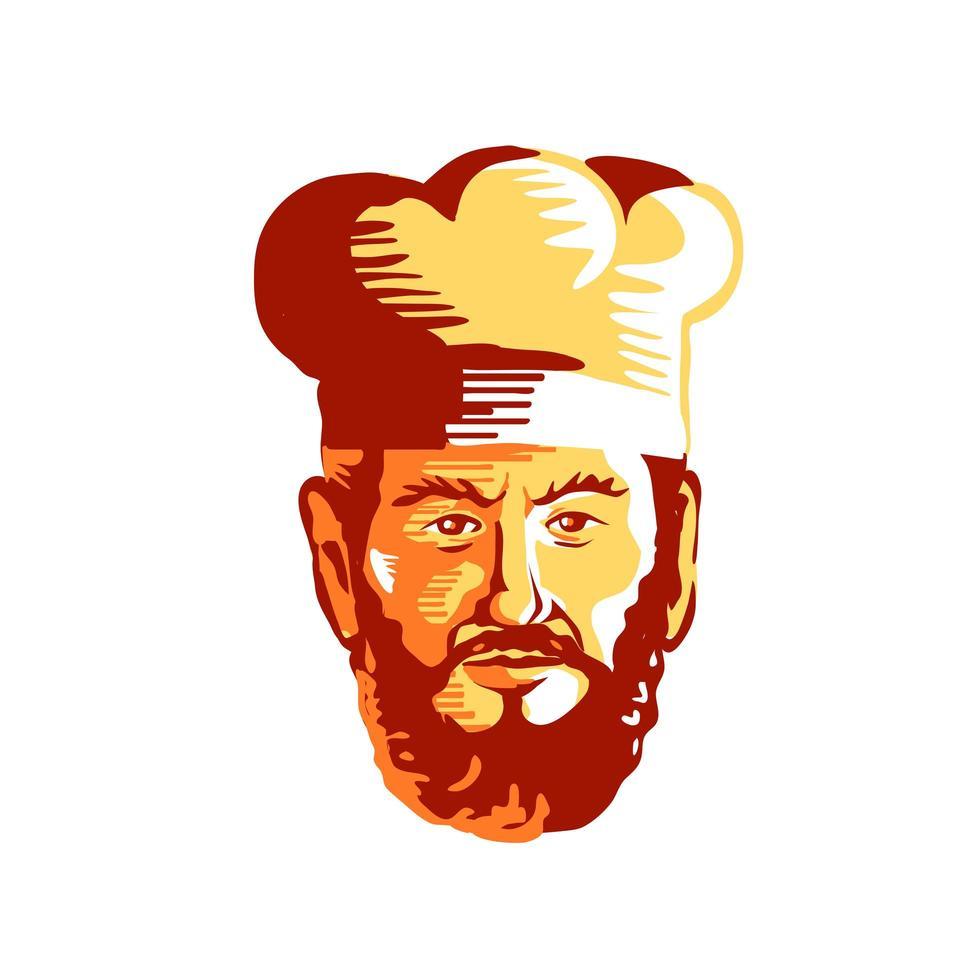 hipster kok chef-kok baard retro vector