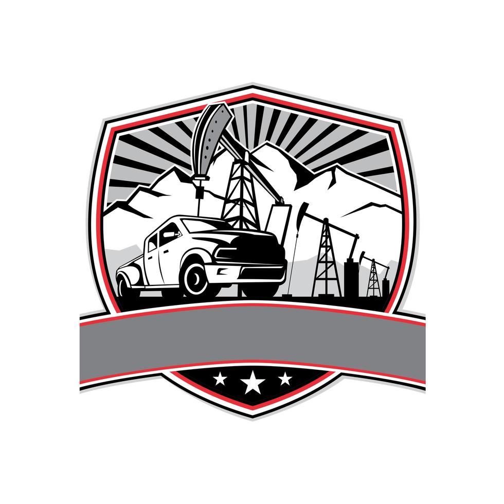 pick-up truck en olie boortoren schild badge retro vector