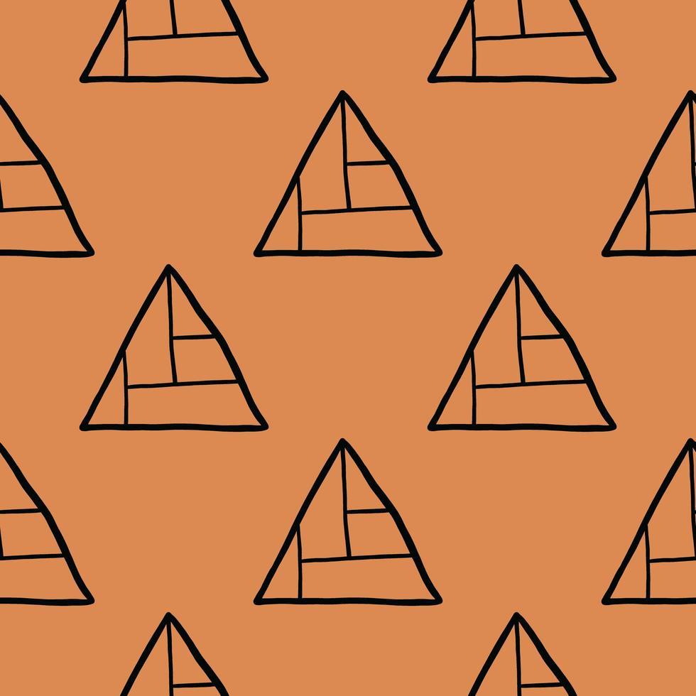 vector naadloze patroon, textuur achtergrond. hand getrokken, oranje, zwarte kleuren.