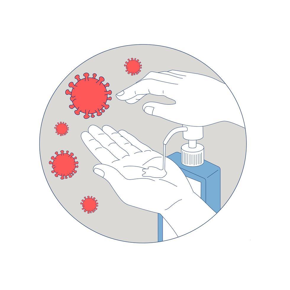 coronavirus handdesinfecterend monoline cirkel vector