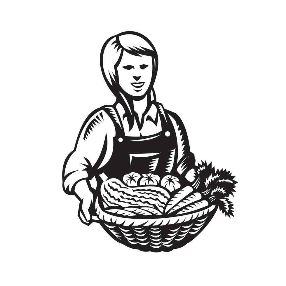 vrouwelijke biologische boer met mandje met groenten vector