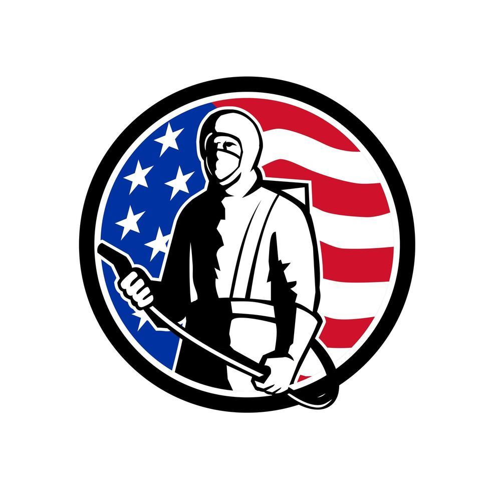 industriële werknemer spray ontsmettingsmiddel staande usa vlag retro vector