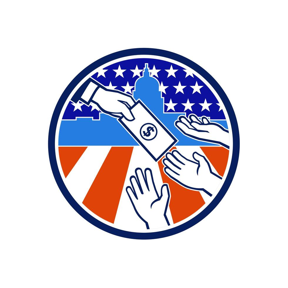 Amerikaanse stimulus betaling pakket pictogram retro vector