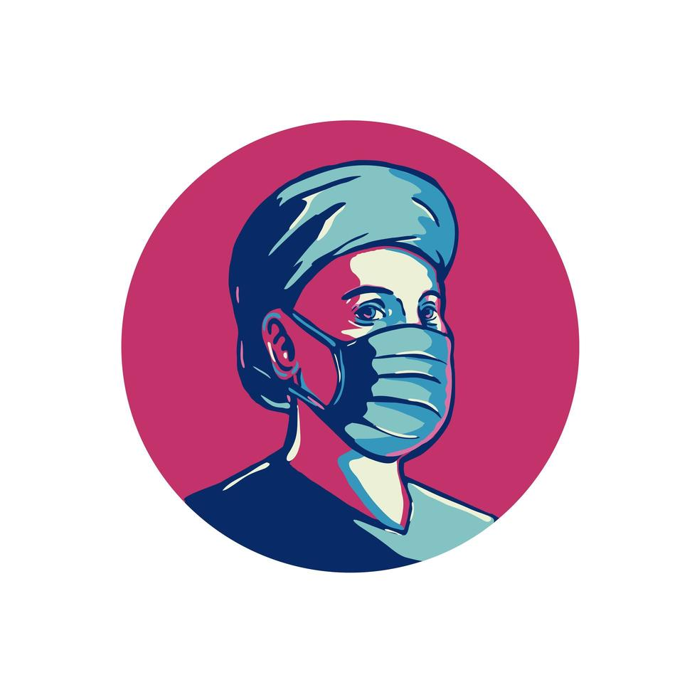 frontlinie werknemer draagt masker en pet cirkel wpa vector