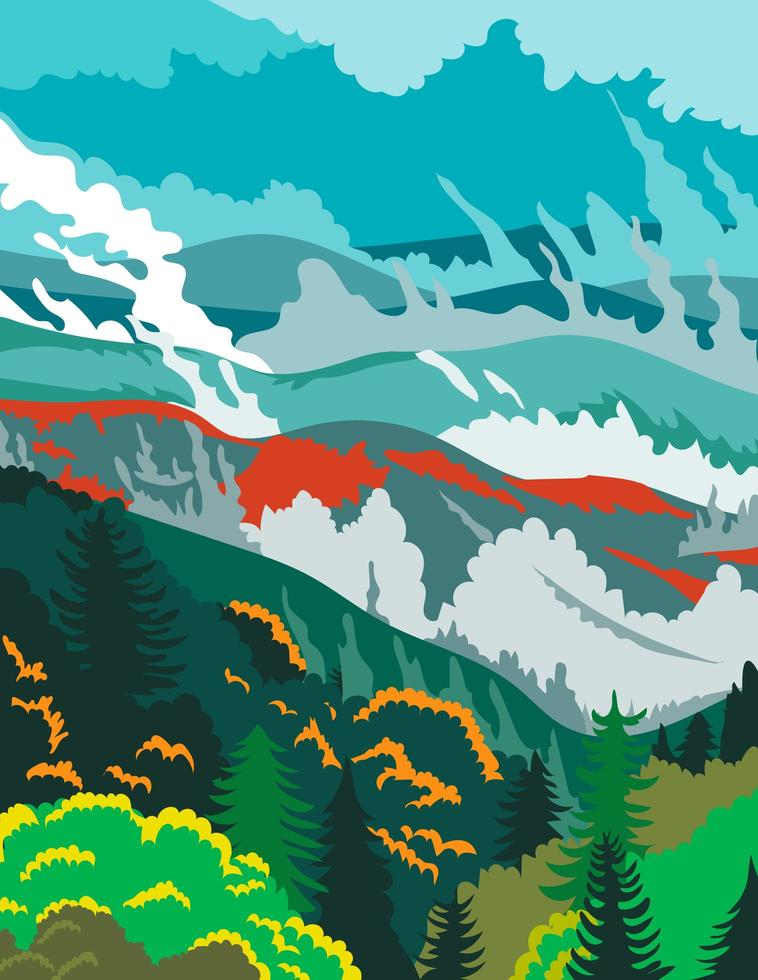 Great Smoky Mountains National Park in Tennessee vector