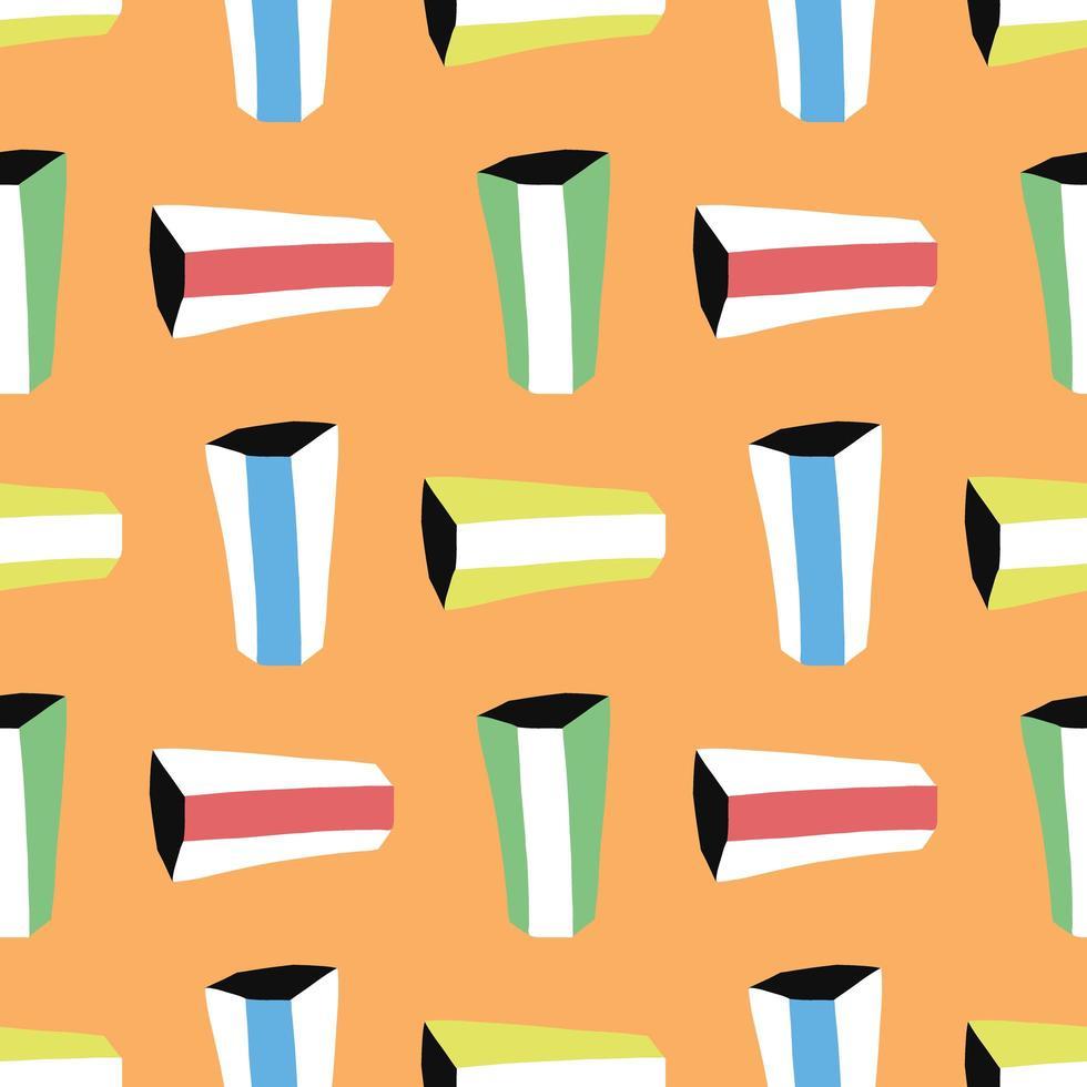 vector naadloze structuurpatroon als achtergrond. hand getrokken, gekleurde, oranje achtergrond.