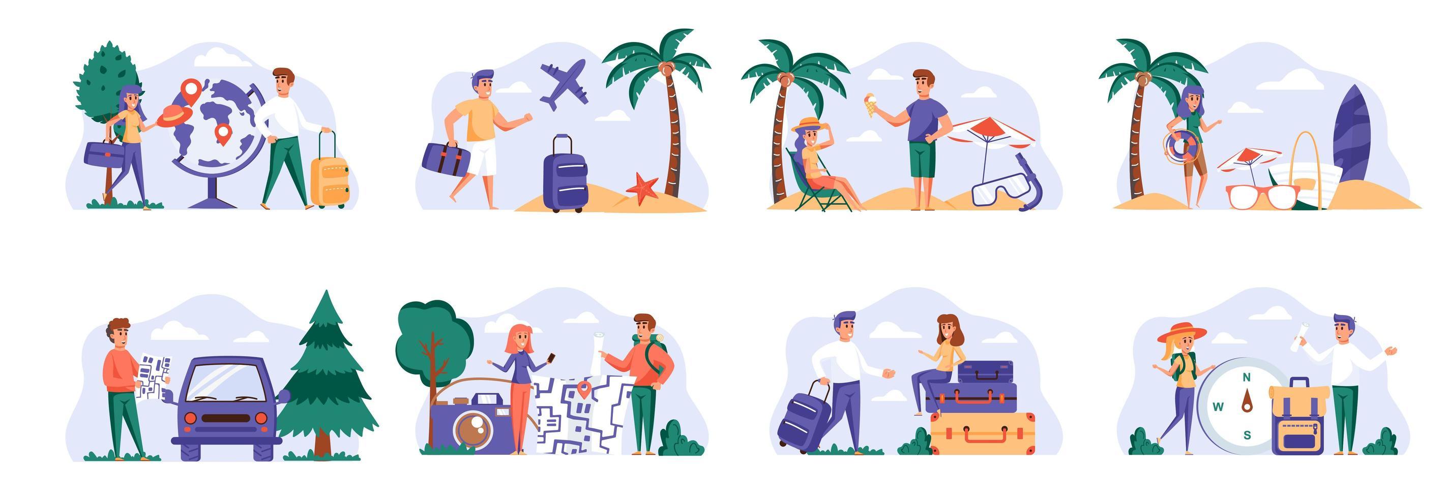 reizen vakantiescènes bundel met personages van mensen. vector