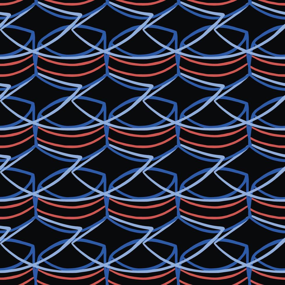 vector naadloze structuurpatroon als achtergrond. hand getrokken, blauwe, rode, zwarte kleuren.