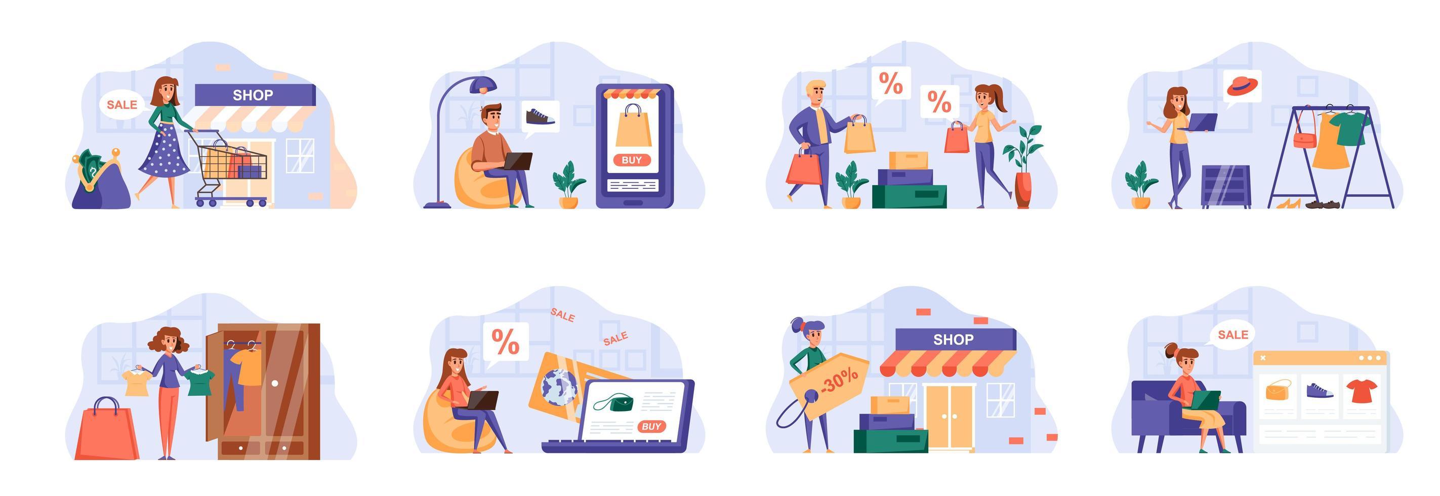 shopping scenes bundel met personagekarakters. vector