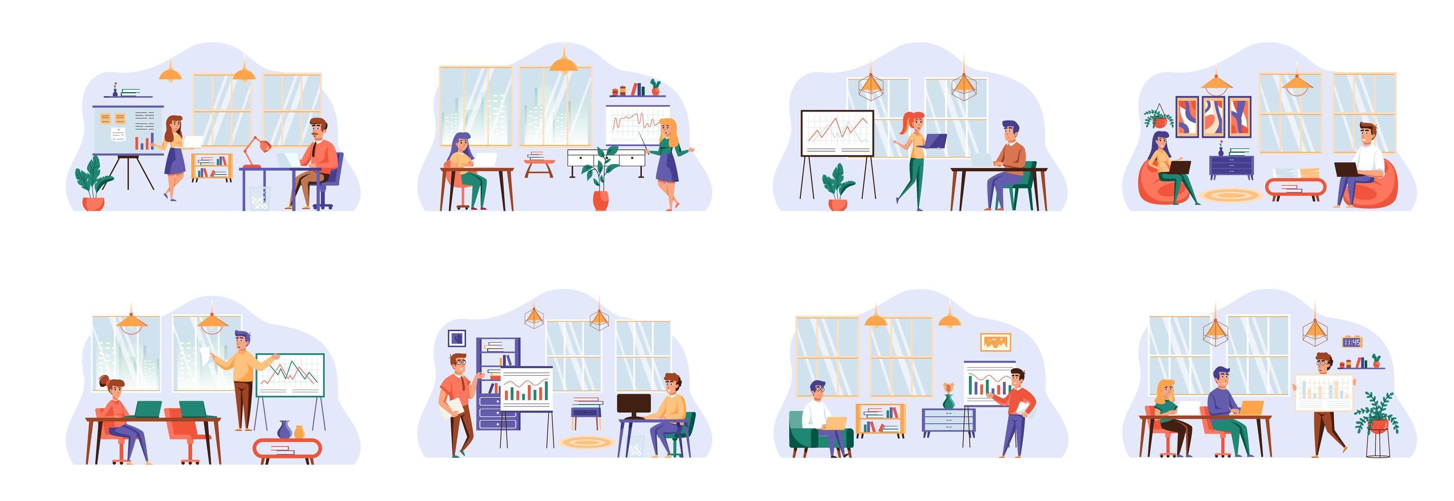 office manager bundel scènes met personagekarakters. vector