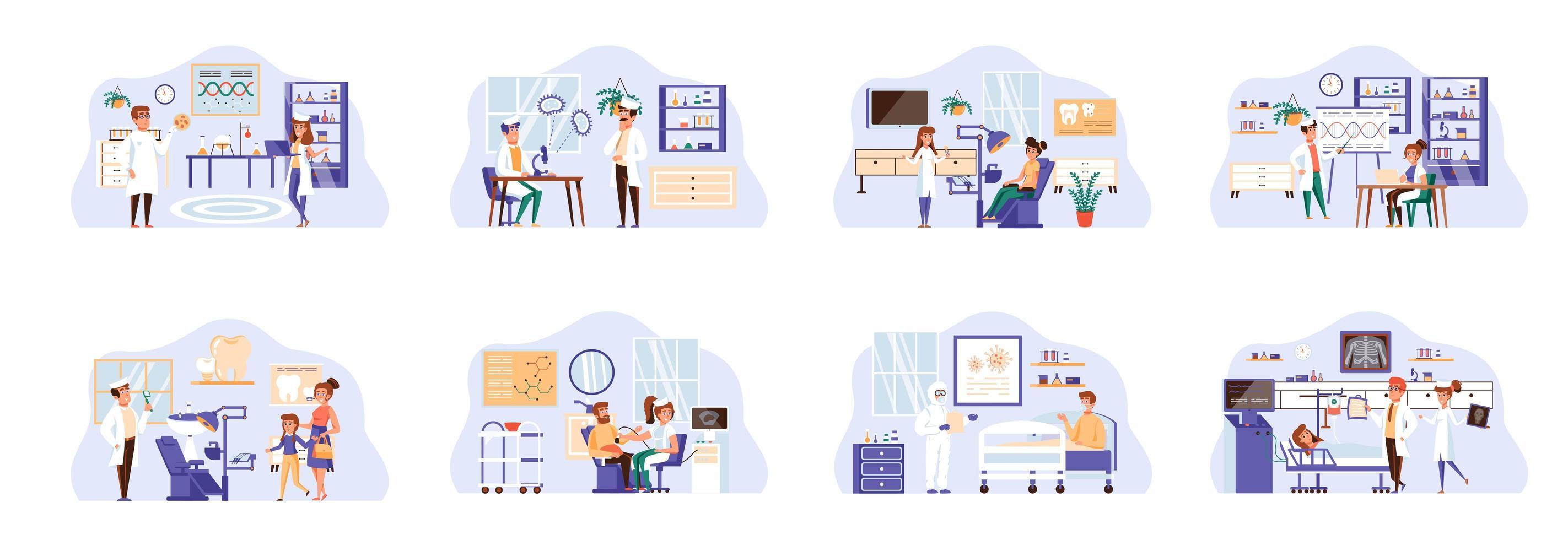 medische zorgbundel van scènes met personenpersonages. vector