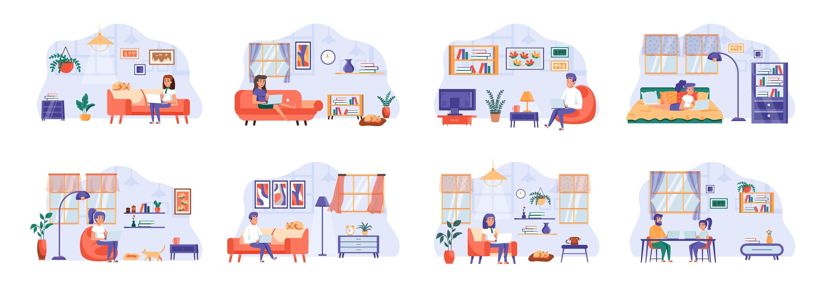mensen blijven thuis scènes bundel met personages van mensen. vector
