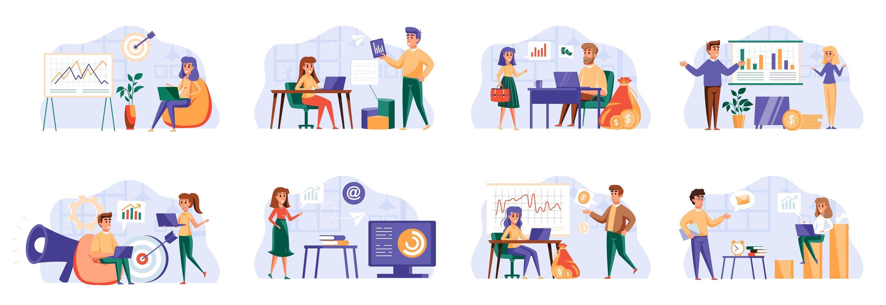 marketingstrategiebundel met personagekarakters. vector