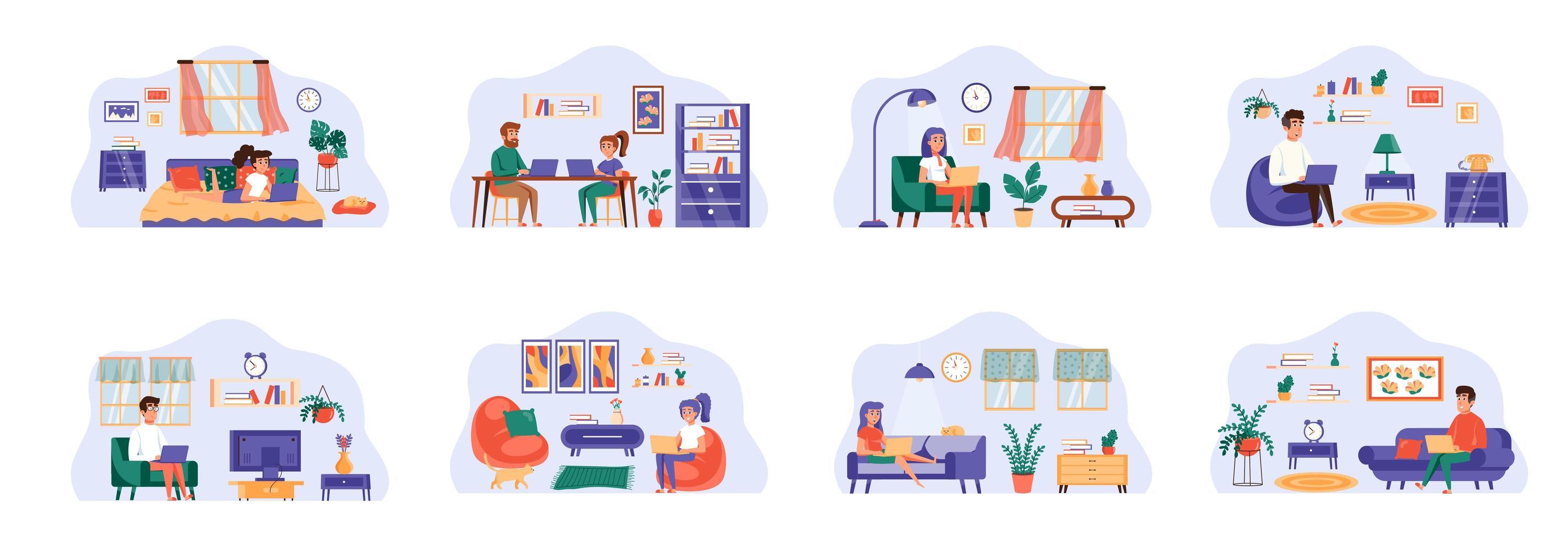 freelance bundel scènes met karakters van platte mensen. vector