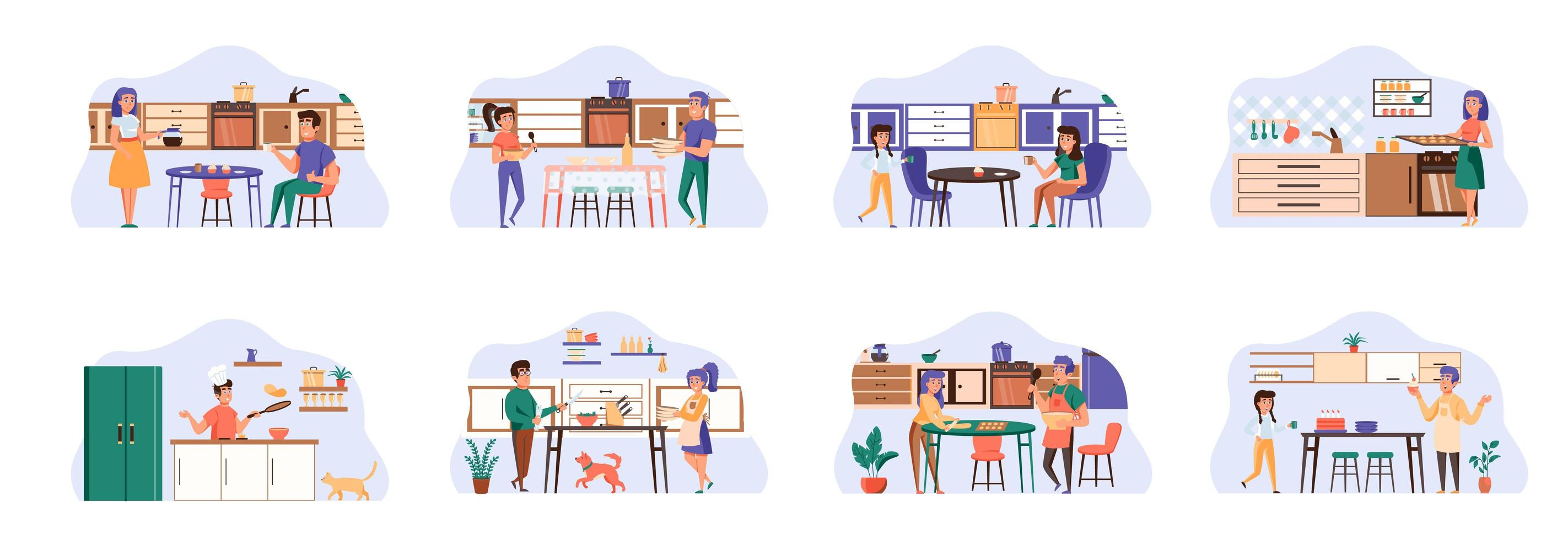 kookbundel van scènes met karakters van platte mensen. vector