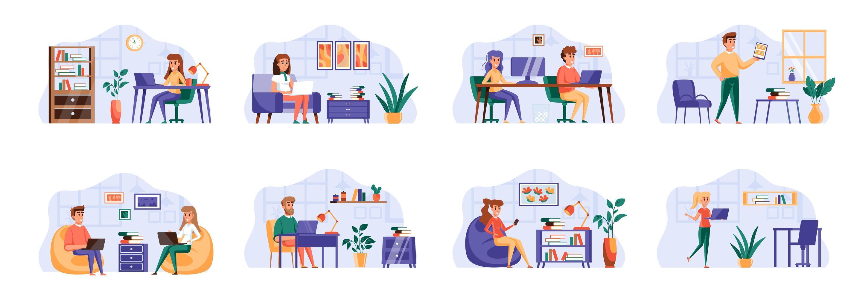 coworking office-bundel met personagekarakters. vector