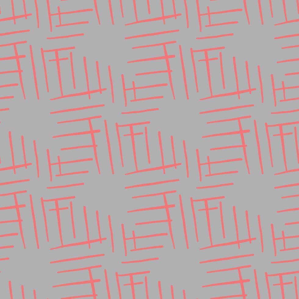 vector naadloze structuurpatroon als achtergrond. hand getrokken, grijze, rode kleuren.
