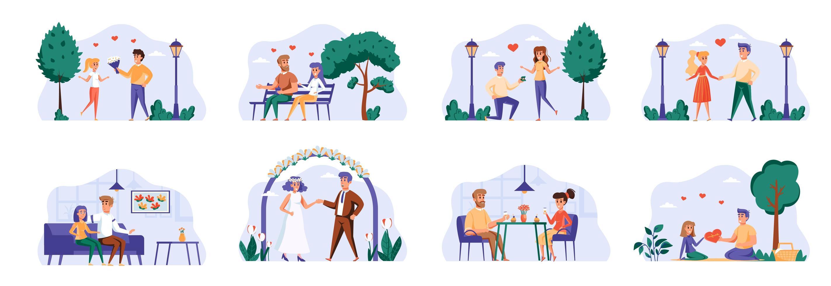 liefdespaarbundel met mensenpersonages. vector