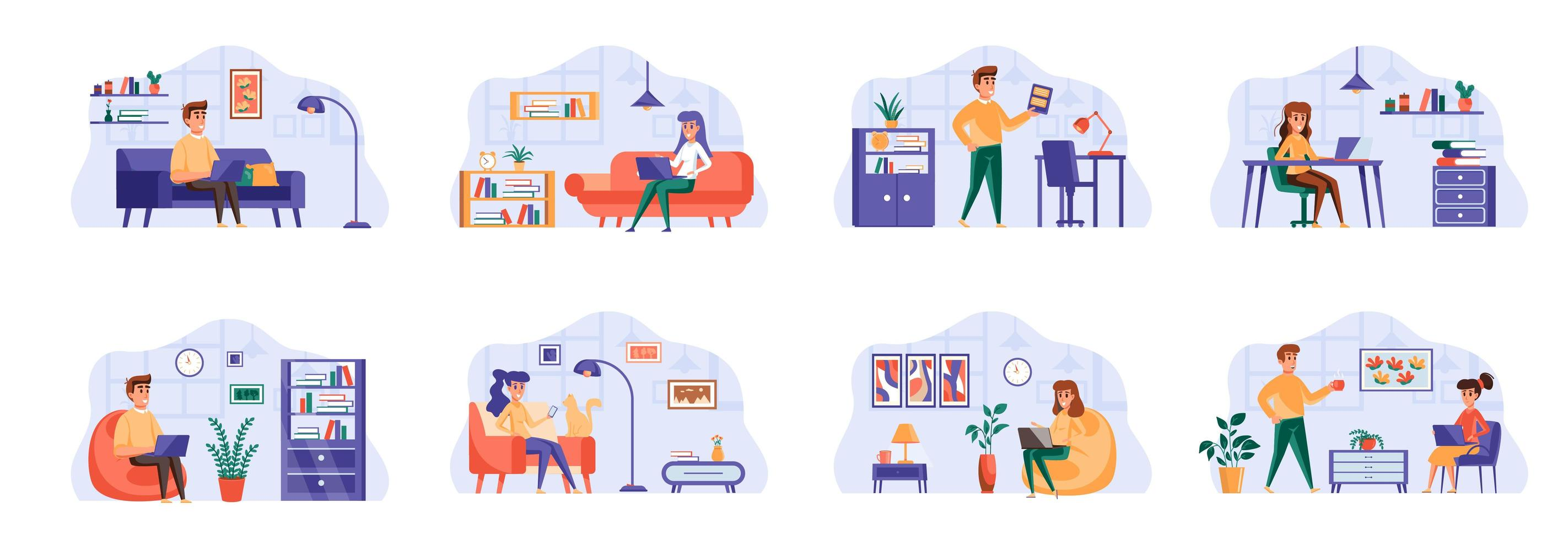 bundel freelance werkscènes met mensenpersonages. vector