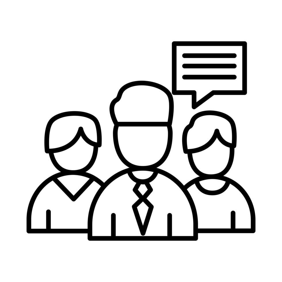 collega's mannen met bubble lijn stijl pictogram vector design